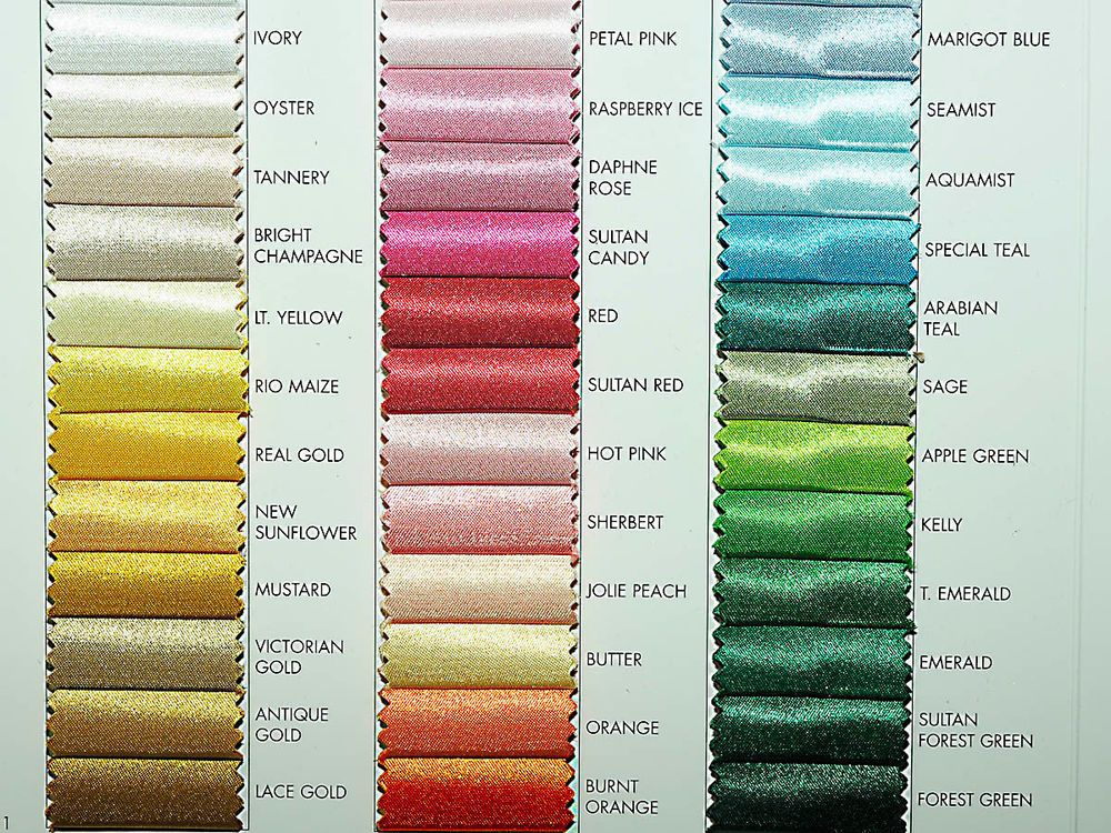 Satin Polyester Fabric Choice Of Color From Chart 1 Yd Bridal Formal Costume Fabric Polyester Fabric Satin