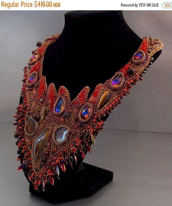 Check out Birthday a sale Free Shipping, Bead Embroidery, Collar Necklace, Statement necklace, Seed beaded jewelry, Swarovski, Red,  Bronze,  Ammonite on vicus