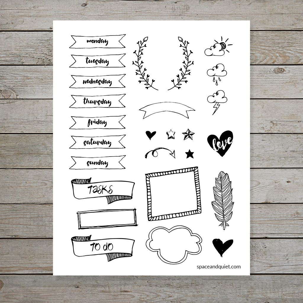 Free Bullet Journal Printable Banners And Doodles Bullet Journal Banner Bullet Journal Doodles Bullet Journal Stickers