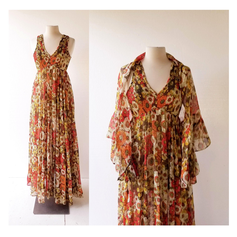 70s Maxi Dress Autumn Festival 1970s Dress With Shawl Xs Etsy Maxi Dresses Fall Maxi Dress 70s Maxi Dress [ 3000 x 3000 Pixel ]