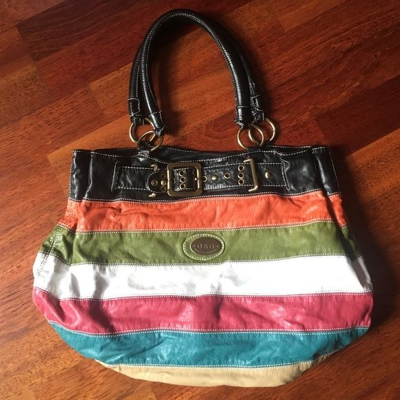 Dolce   Gabbana (knockoff) multicolored purse Dolce   Gabbana knockoff black  orange green white red blue cream striped bag. Two open pockets and one  zipper ... af3c1c5393342