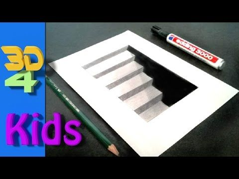 Easy D Line Drawings : Very easy!! how to drawing 3d hole trick art on line paper