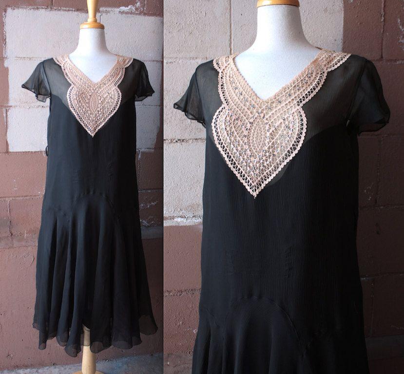 Vintage 1930's Dress // 20s 30s Black Silk Chiffon Flapper Dress with Rose Cream Crochet Lace Heart Appliqué // Rhinestone Studs by TrueValueVintage on Etsy