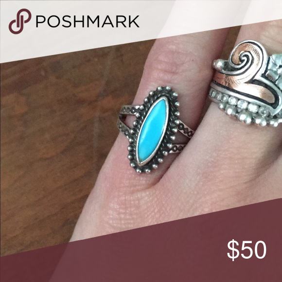 """Sterling and turquoise ring Stamped """"sterling"""" on the back Jewelry Rings"""