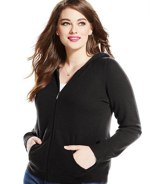 a4c4d91eb12 Charter Club Plus Size Cashmere Zip Hoodie Sweater - Sweaters - Plus Sizes  - Macy's