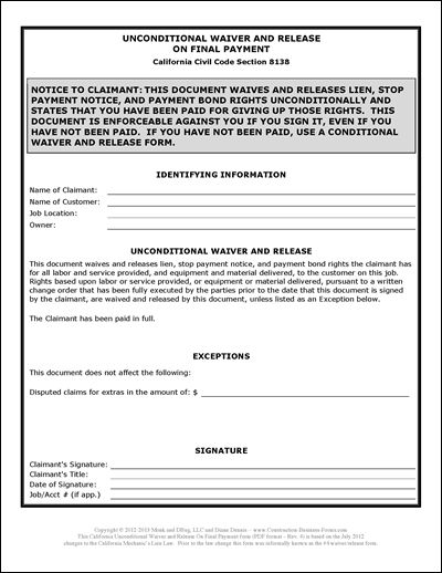 California Lien Waiver Release Form #4 Unconditional Upon Final - bond release form
