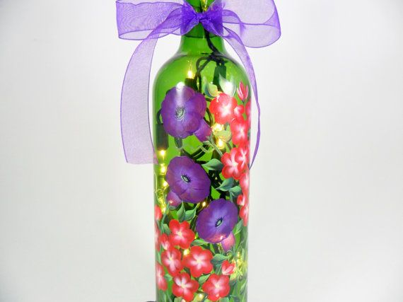 Lighted Wine Bottle Purple Morning Glories Red Geranium Hand Hand Painted Bottles Lighted Wine Bottles Hand Painted Flowers