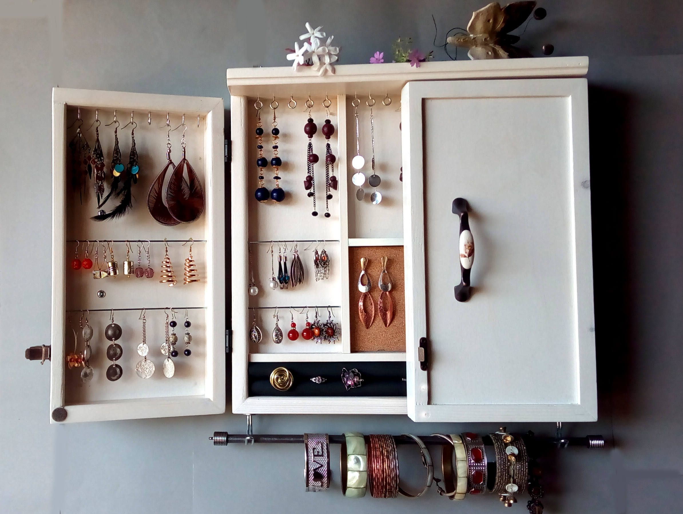Jewelry Cabinet White Jewelry Storage Wooden Wall Mounted Earring Organizer Earrings Storage Holder Jewelry Cabinet Earring Storage Jewellery Storage