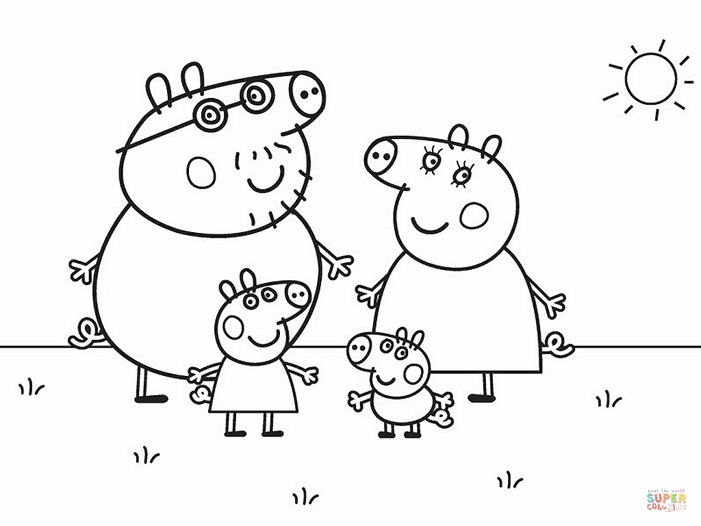 Peppa Pig S Family Coloring Page Free Printable Coloring Pages