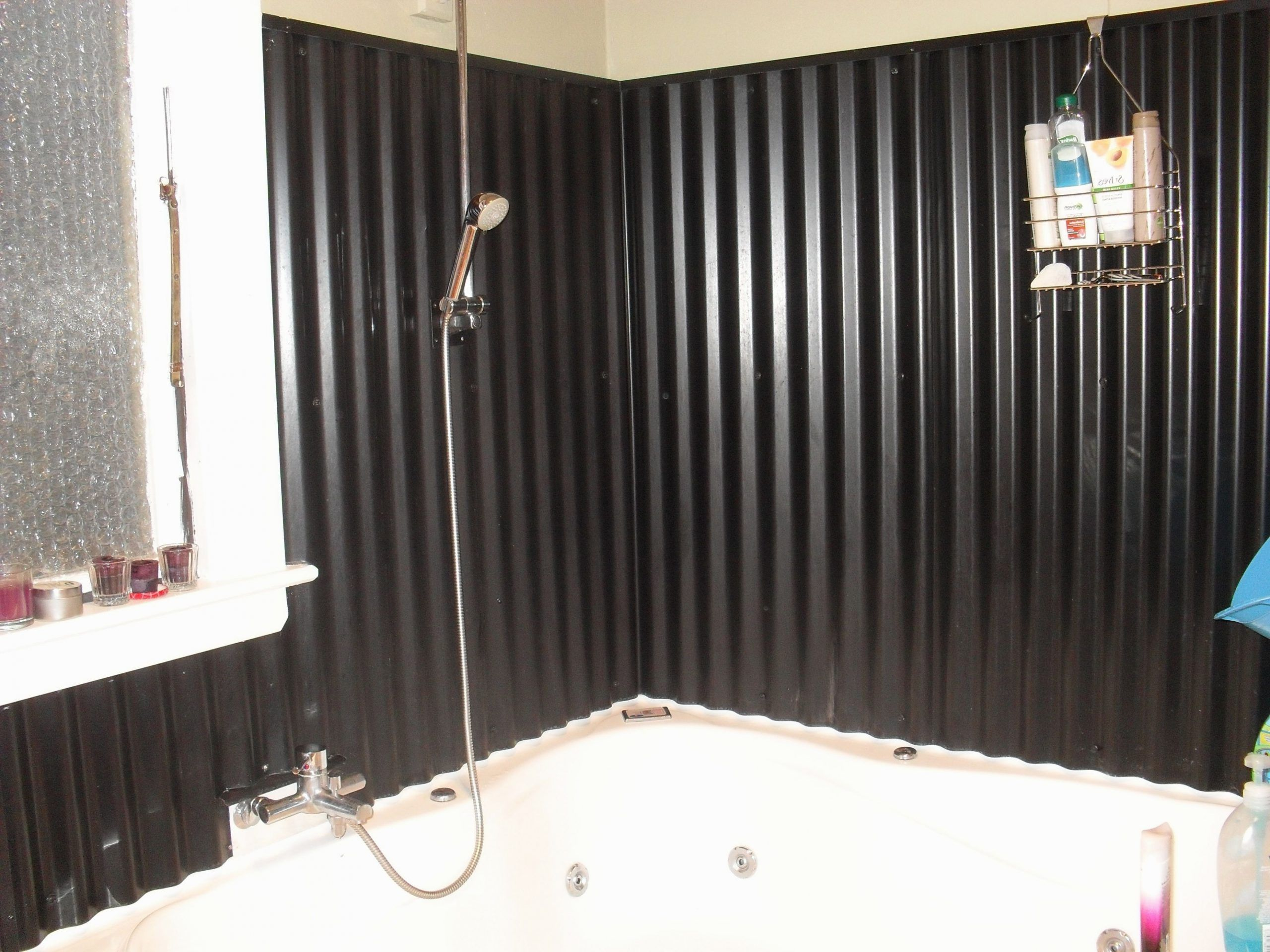 Corrugated Iron For Bathroom Wall So Easy To Clean And Looks Corrugated Metal Bathroom Walls In 2020 Tin Ceiling Bathroom Corrugated Metal Rustic Bathrooms
