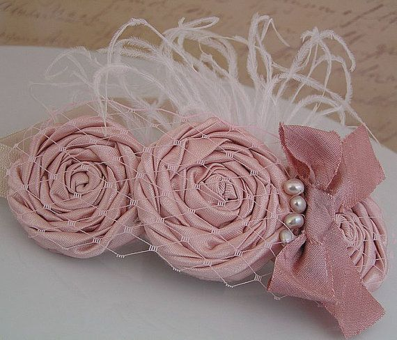 Baby Headband : Baby Headband Vintage Headband Rolled  Rosette Trio with Pearl Detail Fascinator Photo Prop NO.12-44