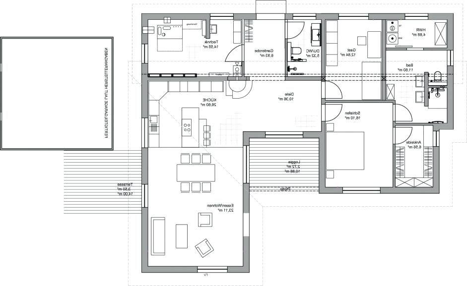 grundriss bungalow rechteckig innenarchitekturkleines