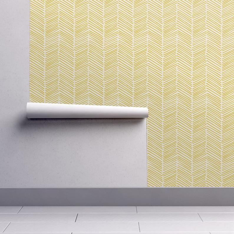 Yellow Chevron Wallpaper Freeform Arrows Large Yellow By Etsy Chevron Wallpaper Self Adhesive Wallpaper Yellow Chevron
