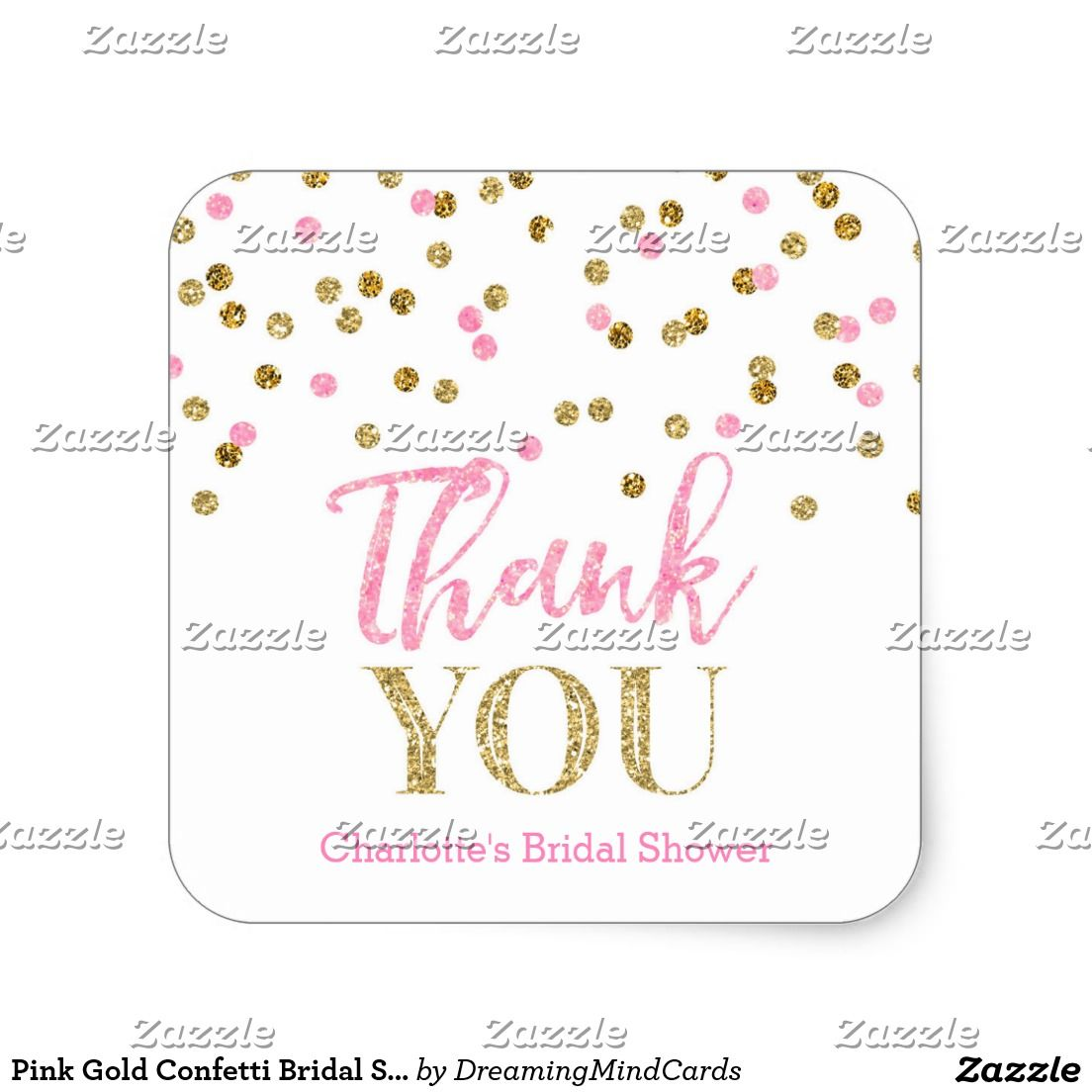 Pink Gold Confetti Bridal Shower Favor Tags Bridal shower thank you ...