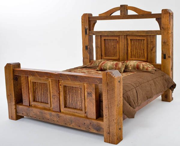 Lodge Style Bedroom Furniture: Timber Frame Bed, Massive Barnwood Beams, Unique Design In