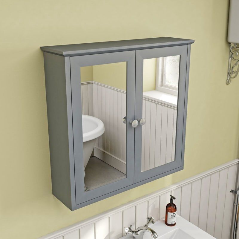 The Bath Co Camberley Satin Grey Mirror Cabinet 598 X 620mm