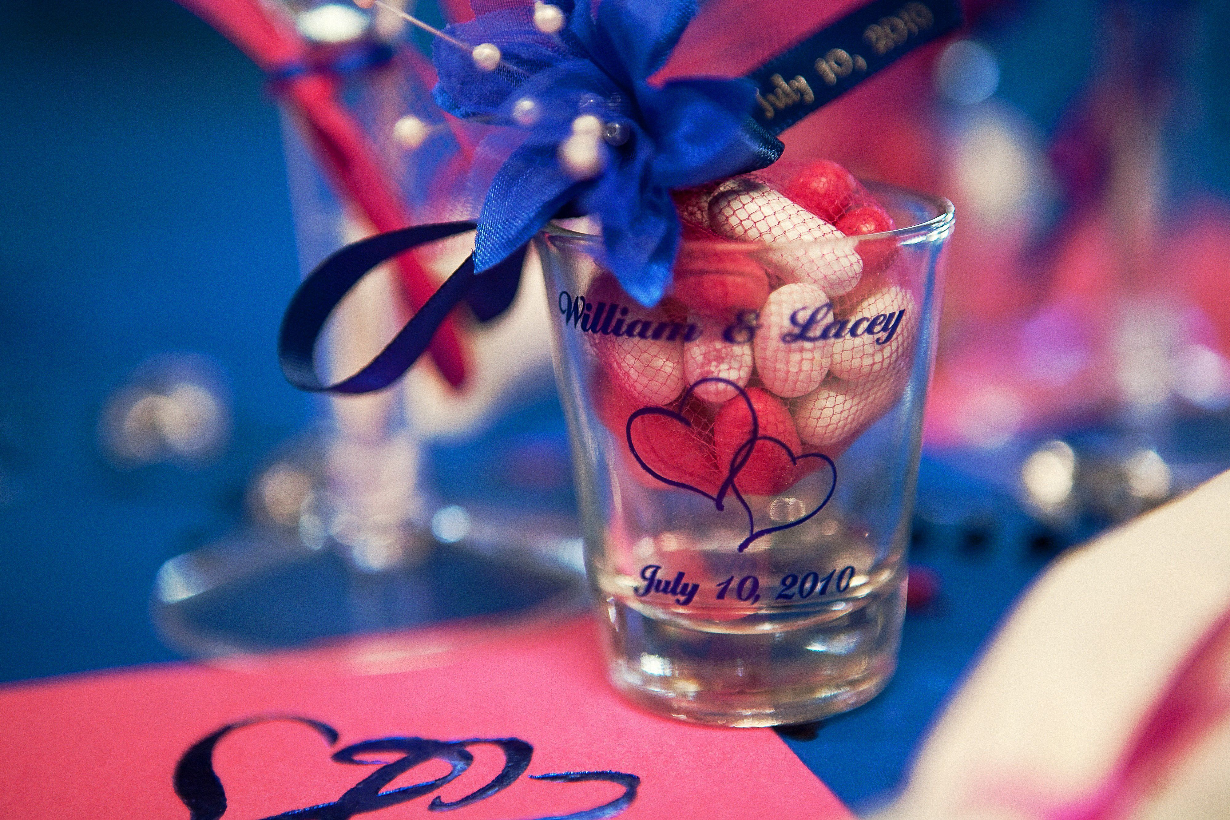 Wedding party favors. Personalized shot glasses! Photo by