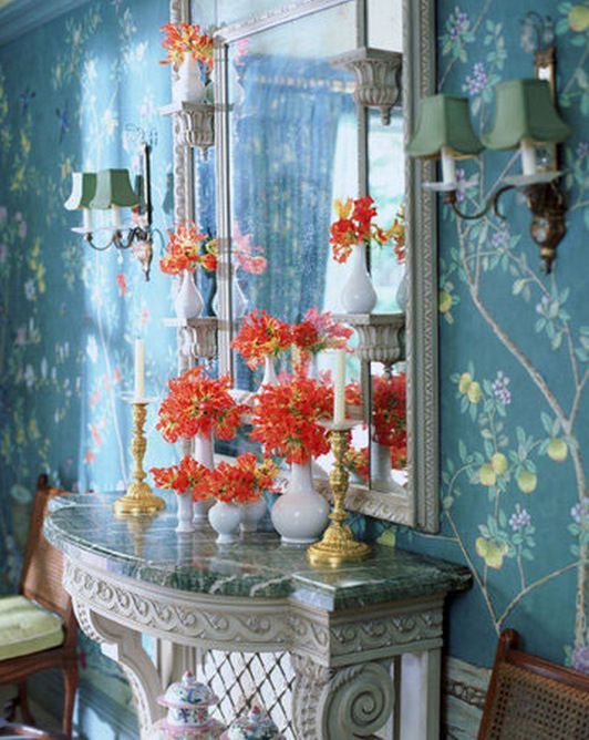 Chinoiserie Style wallpaper and fabric in Teal Blue Dulux