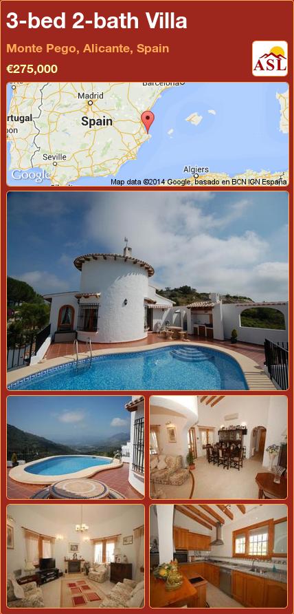 3-bed 2-bath Villa in Monte Pego, Alicante, Spain ►€275,000 #PropertyForSaleInSpain