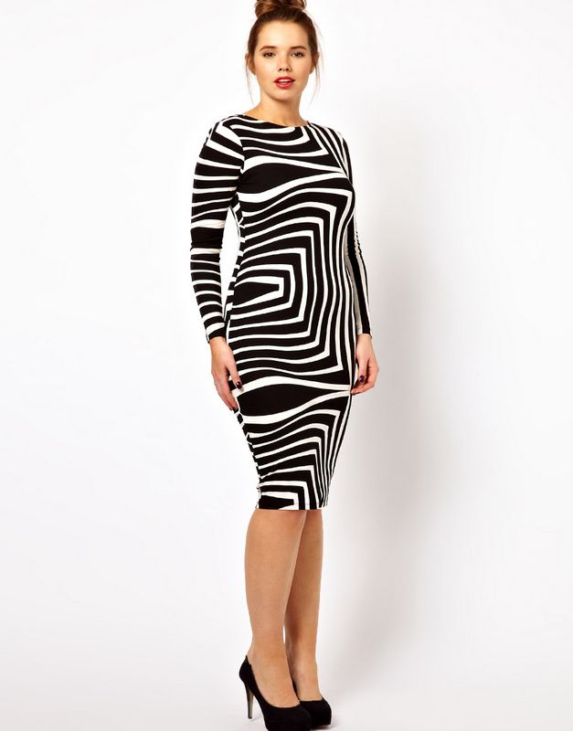 GOTTA HAVE IT: ASOS Curve Body-Conscious Dress In Geo Mono Print #gottahaveit