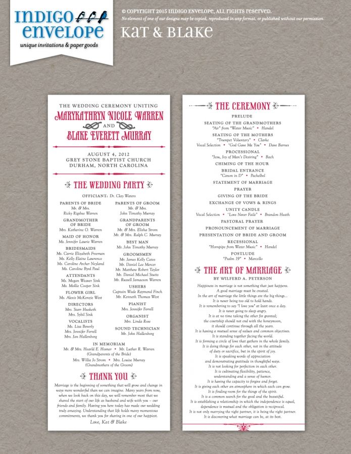 the rustic fonts and flourishes on this double sided wedding program