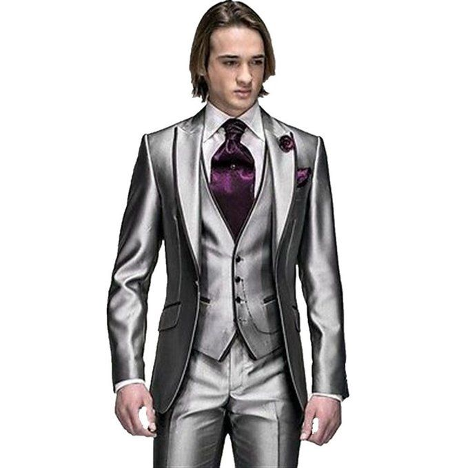 MYS Men\'s Custom Made Groomsman Tuxedo Suit Pants Vest and Tie Set ...