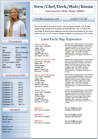 superyacht resume examples