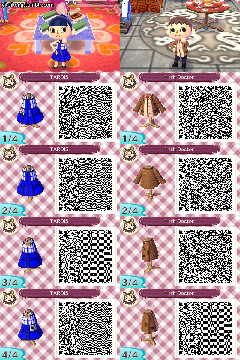 Doctor who qr codes guess who 39 s dressing up as the tardis for Animal crossing new leaf arredamento