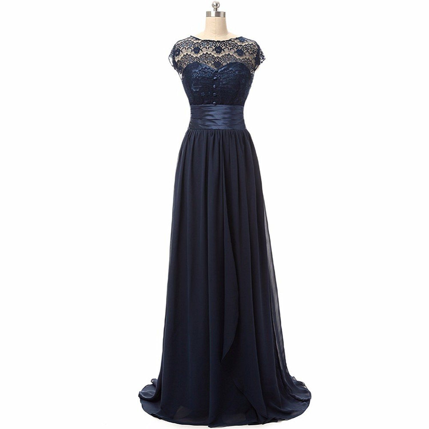Vampal navy blue sheer lace bodice chiffon prom dress with satin