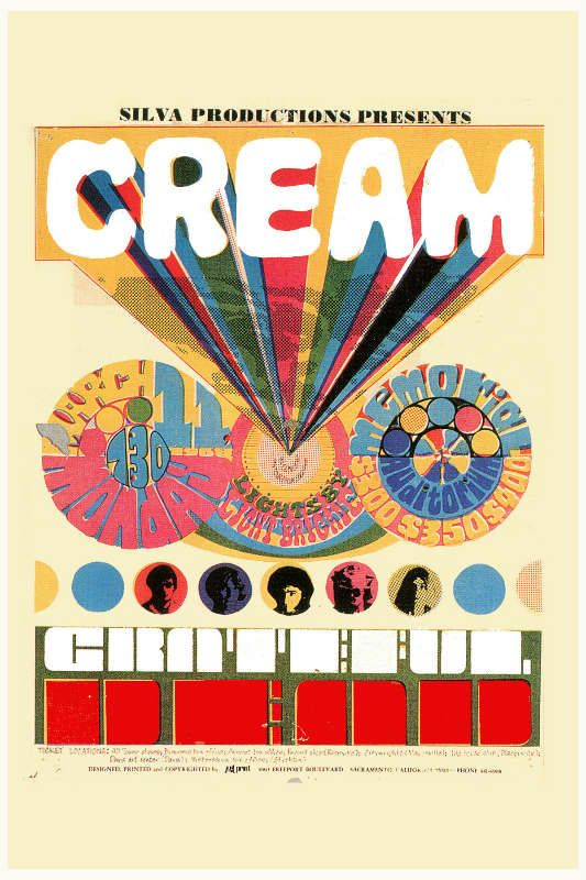 Cream - Cream & The Grateful Dead Sacramento Poster 1967 in
