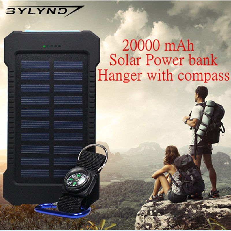 Bylynd 20000mah Dual Usb Waterproof Solar Power Bank Shockproof Solar Battery Charger Power Energy Sun External Battery Clothing Sh Zonne Energie Lader Solar