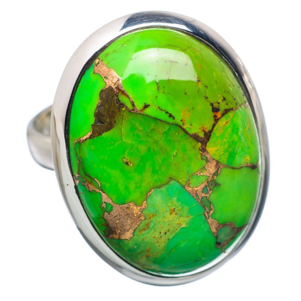 Green Copper Composite Turquoise 925 Sterling Silver Ring Size 6.25 RING692985