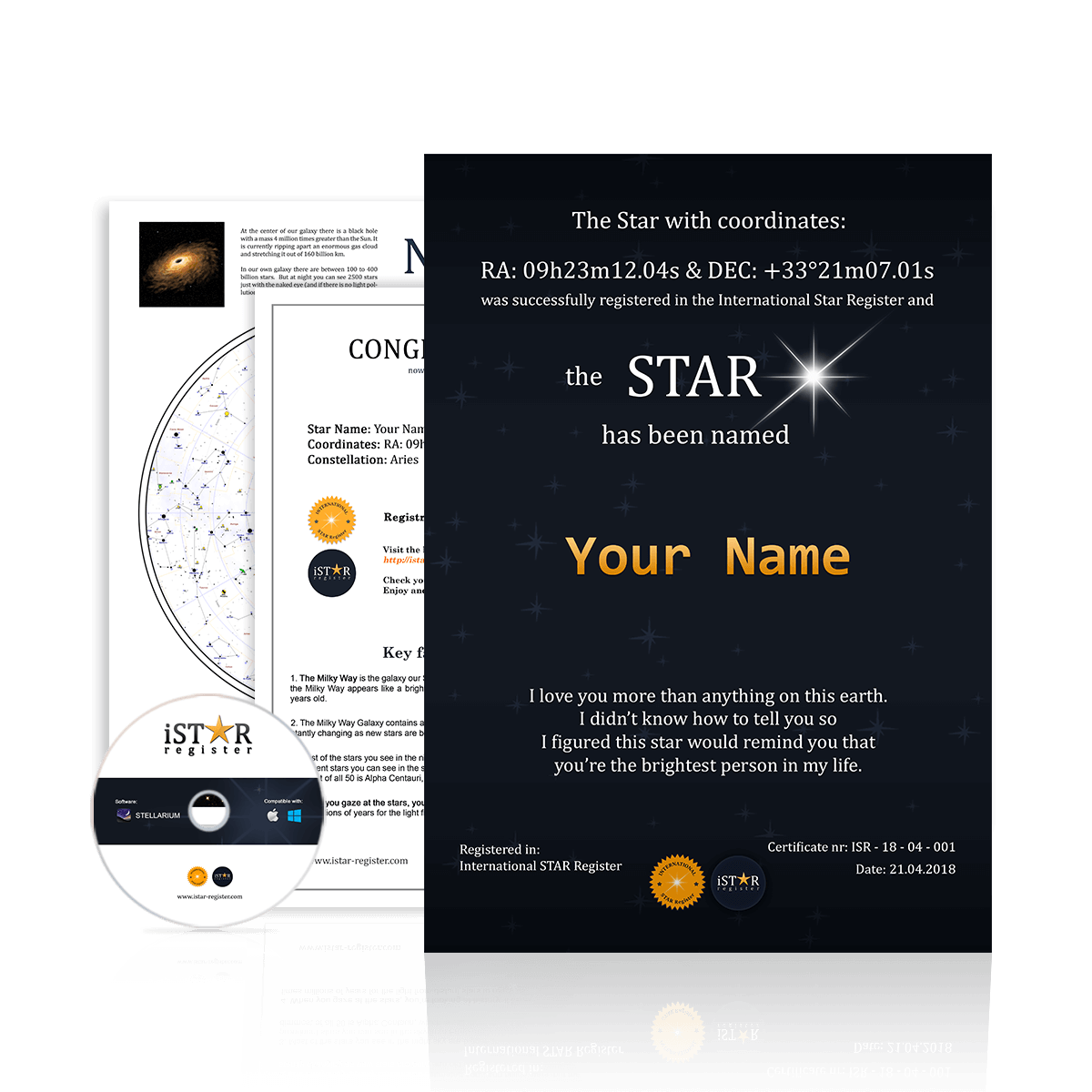 Name A Star Gift Set 2 Personalised A4 Printed Certificate