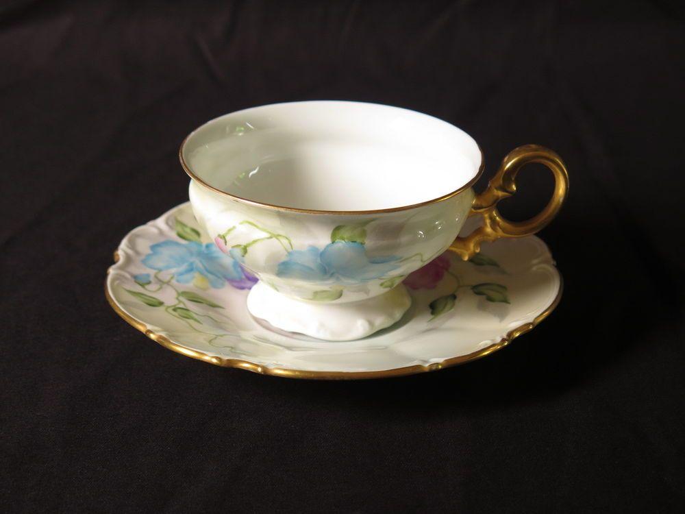 Hutschenreuther Selb teacup saucer vtg flower purple blue hand painted gold pink #Hutschenreuther