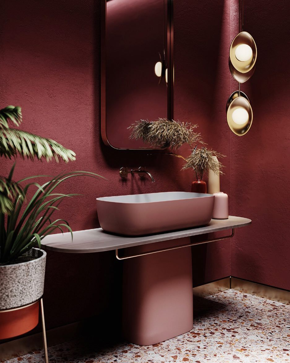 Interior For All On Instagram Bathroom Vibes Designed By Vt Design Make Sure To Follow Interi Bathroom Red Bathroom Interior Design Bathroom Interior