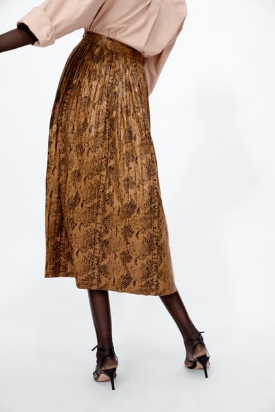 3c8e4b6493a0 SNAKESKIN PRINT PLEATED MIDI SKIRT | Wardrobes | Pleated midi skirt ...