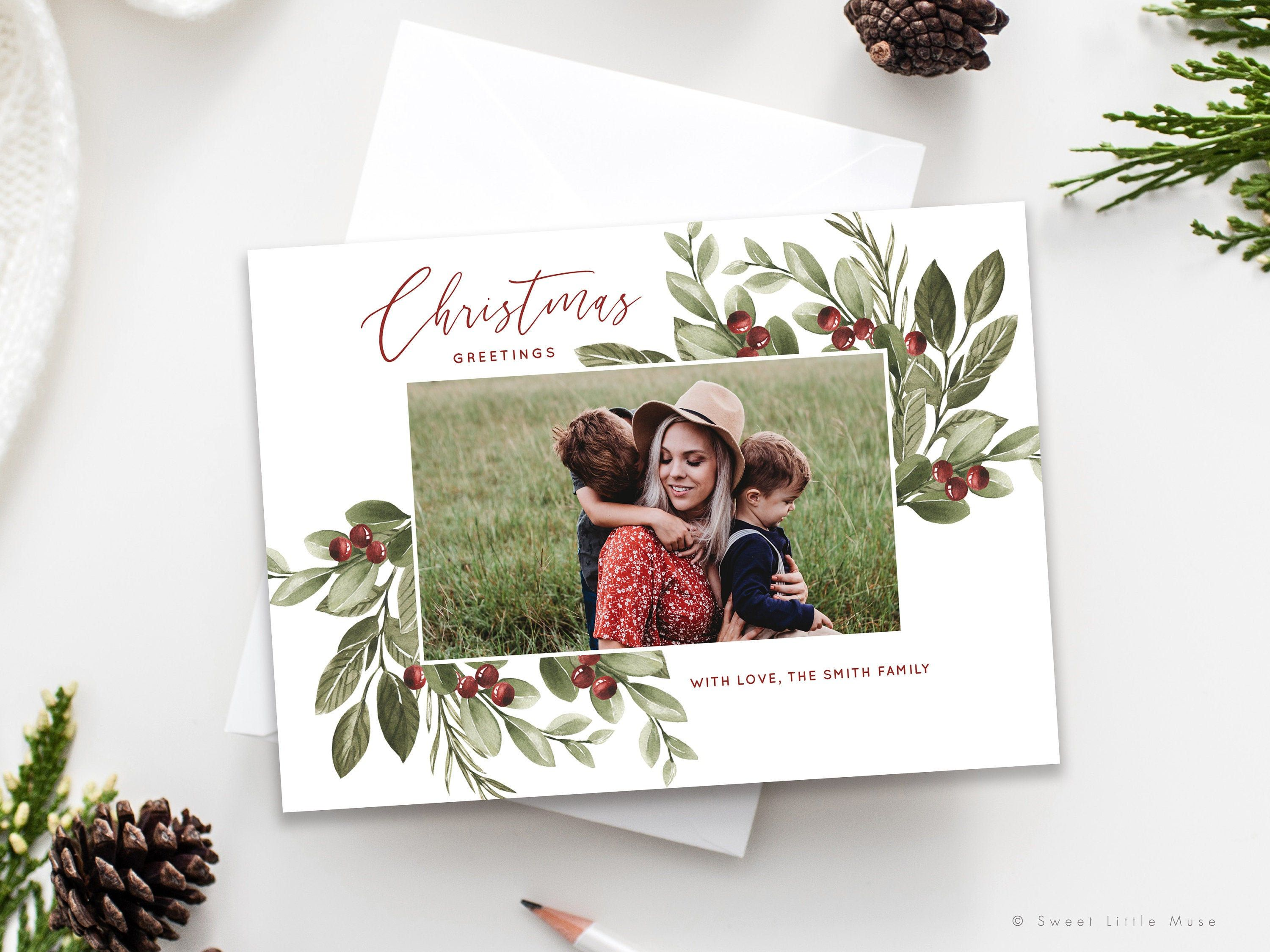 Watercolor Christmas Card Template For Photographers Etsy Christmas Card Template Christmas Photo Card Template Photo Card Template