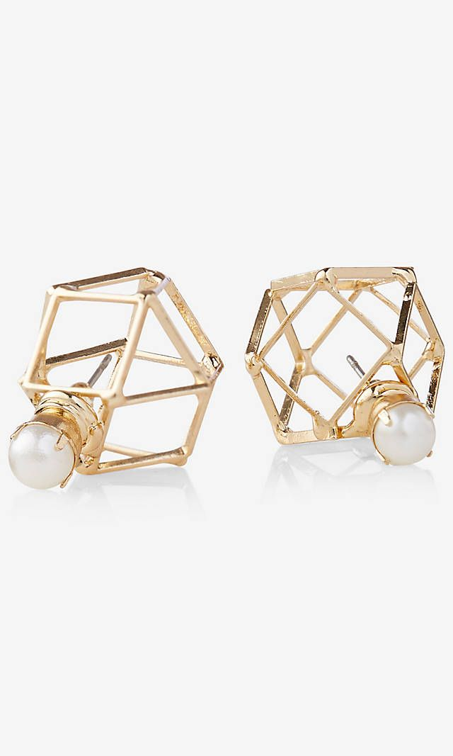 Pearl Front And Cage Back Post Earrings | Express