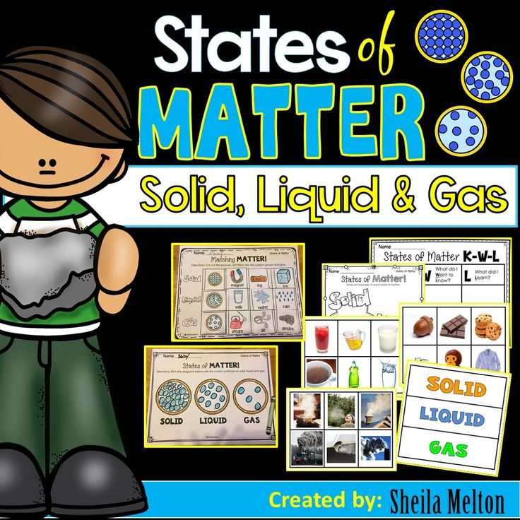 States of Matter Solid Liquid Gas Prove to your students that solids liquids and gases really do MATTER with these States of Matter real pictures to sort worksheets and s...