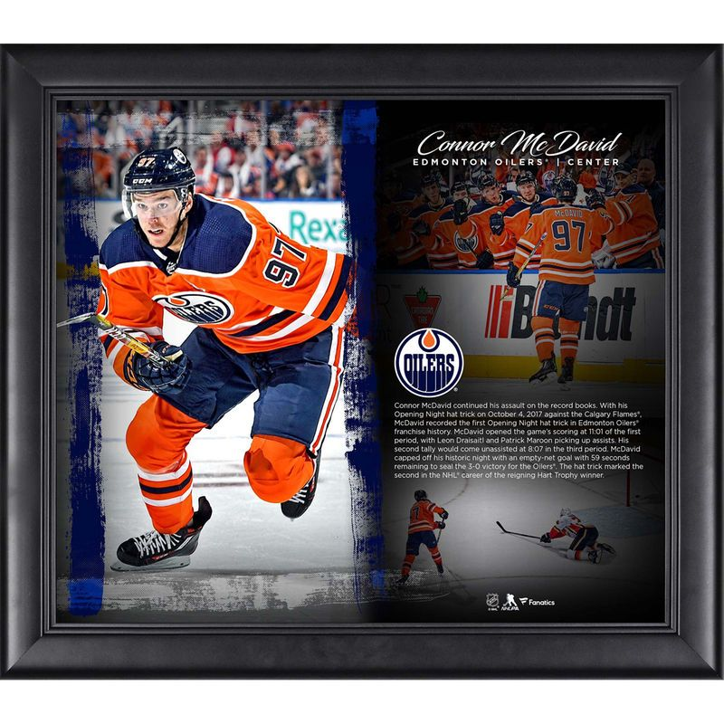 Connor Mcdavid Edmonton Oilers Fanatics Authentic Framed 15 X 17 Opening Night Hat Trick Collage Edmonton Oilers Oilers Mcdavid