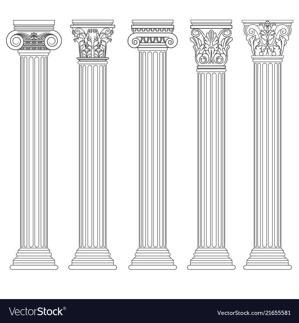 Roman Column Set Greek Pillar Ancient Royalty Free Vector Sponsored Set Greek Roman Column Ad Greek Columns Architectural Columns Jesus Art Drawing