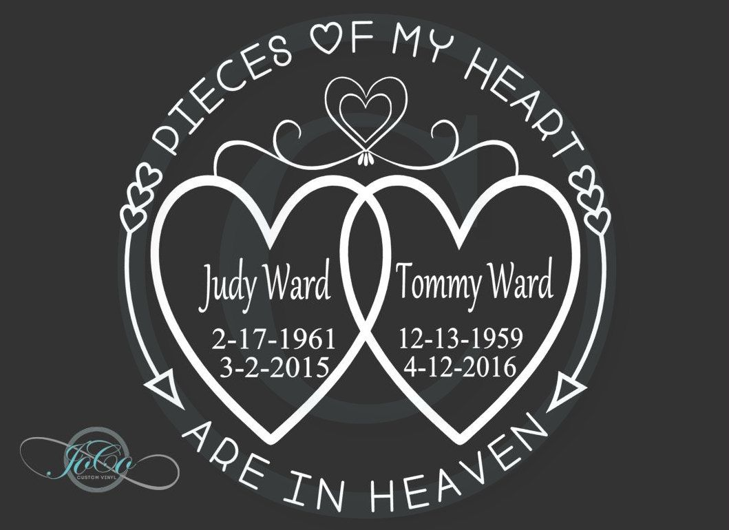 In loving memory of memorial vinyl personalized car decal pieces of my heart are in heaven