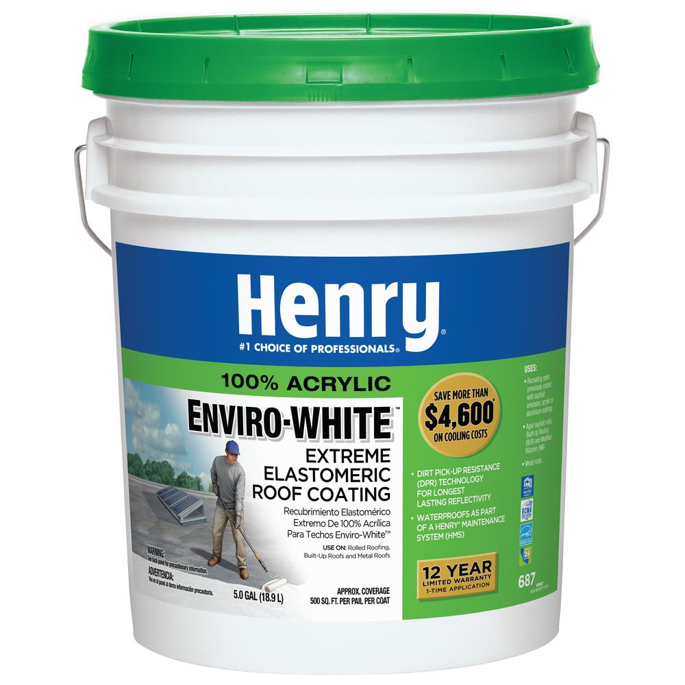 Henry You Get Many Benefits For Using This 687 100 Acrylic Enviro White Extreme Elastomeric Roof Coating In 2020 Elastomeric Roof Coating Roof Coating Roof