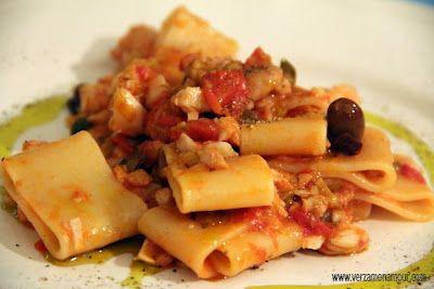 Calamarata con baccal pomodorini capperi e olive for Siti con ricette di cucina