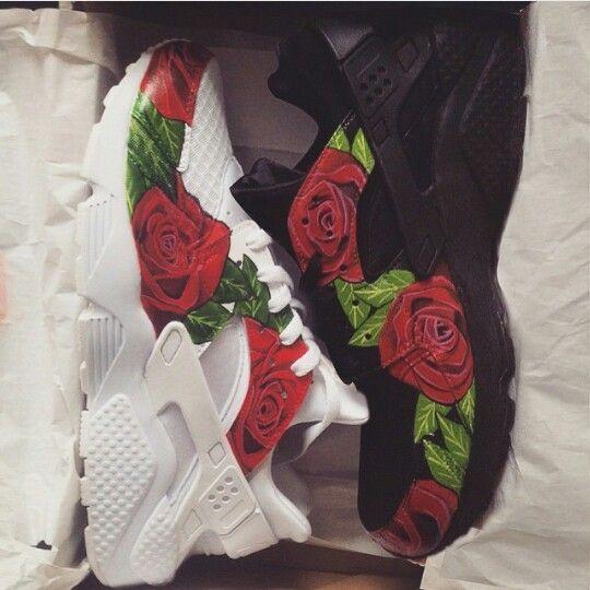 Custom Red Rose Nike Huarache Sneakers