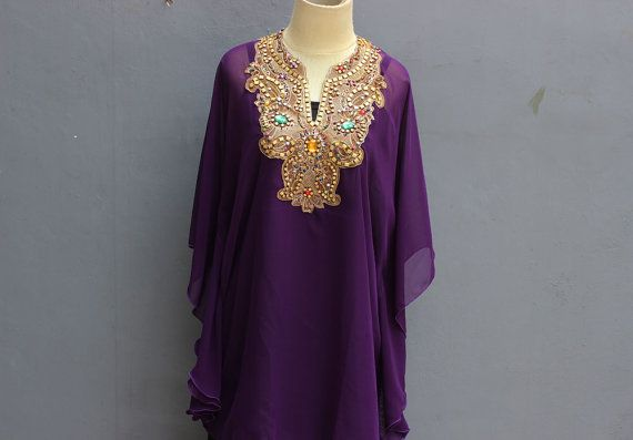 ee844a58a85 Very Fancy Sheer Chiffon Kaftan Moroccan with Gold Embroidery detailed. ✿  The fabric is made of Polyester Top Quality ✿ The Caftan is sheer chiffon
