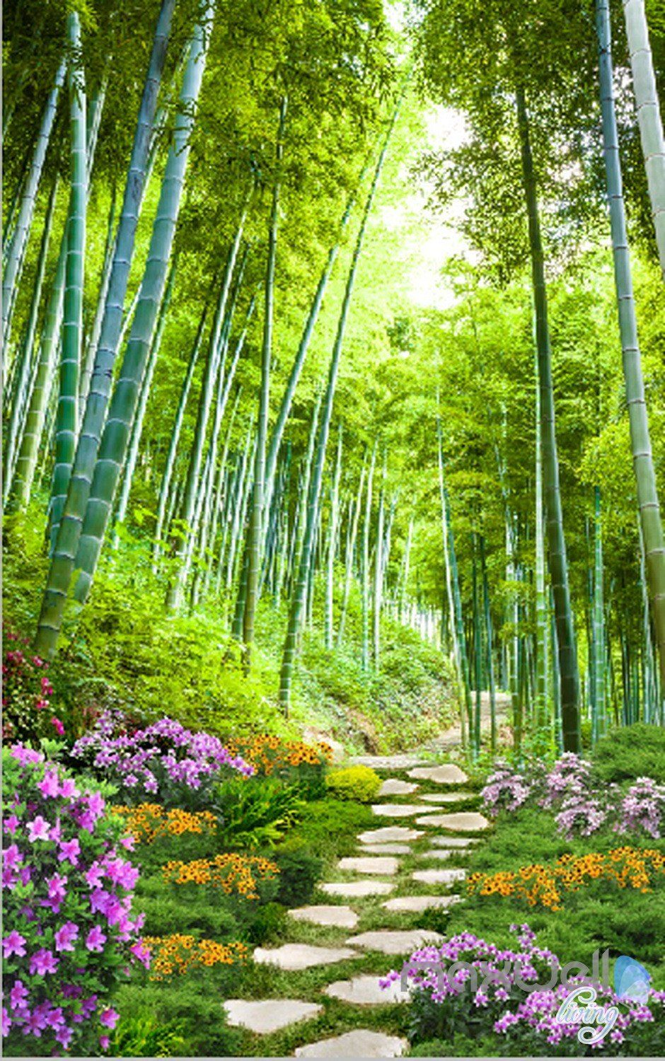 3D Bamboo Forest Flower Corridor Entrance Wall Mural Decals