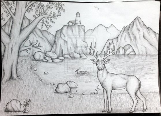 Pencil drawing scenery by pluckinthaguitarra