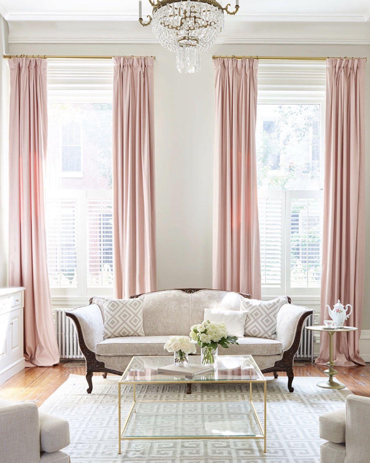 Blush Pink Custom Drapery Collection Light Pink Linen Drapes Pink