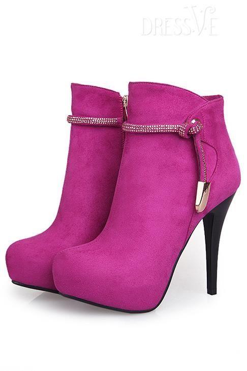Rhinestone Strap Stiletto Heel Ankle Boots by fashion online